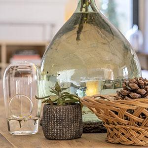 Detail table basse avec plante et eau